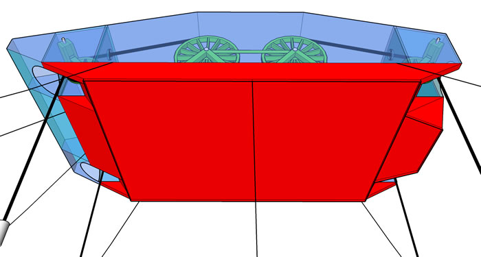 Bottom of Barge View of The Super Watt Wave Catcher Barge; Stern Larger to Equalizing Bow and Stern Generator Output; Bottom Edge Plates Increase Bottom's Vertical and Horizontal Drag Coefficients