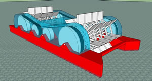 16D-Double Paddle Wheel Current Catcher Pontoon Barge